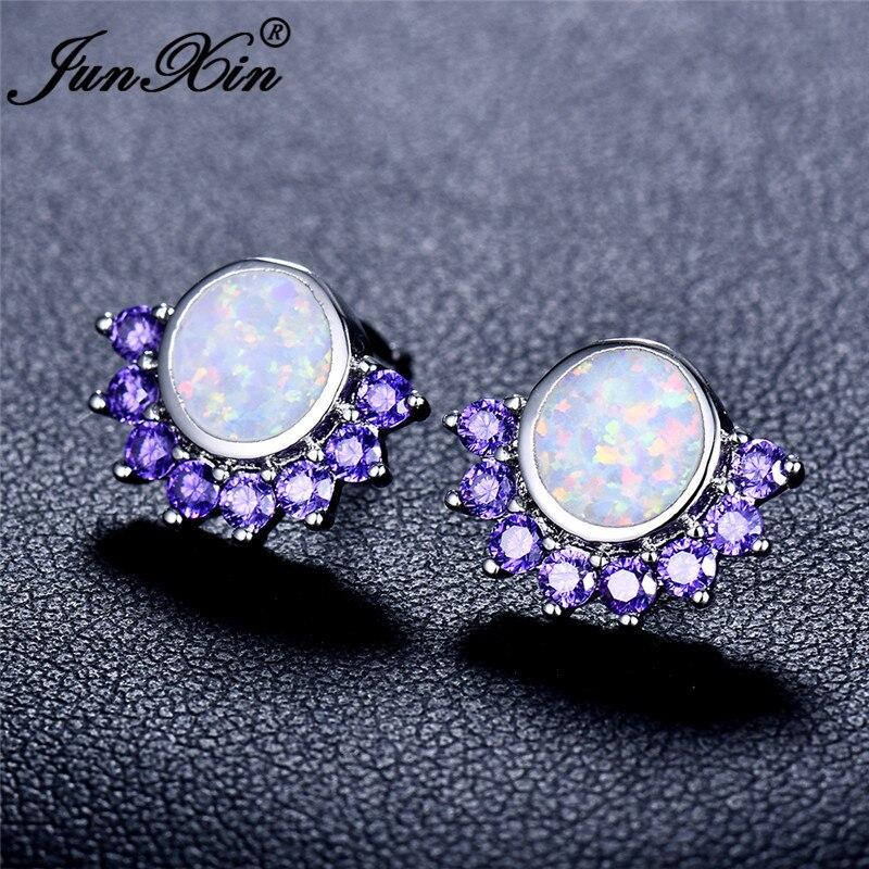 JUNXIN Round White Blue Fire Opal Earrings For Women White Gold Filled Purple Pink Zircon Animal Claw Paw Stud Earrings Female