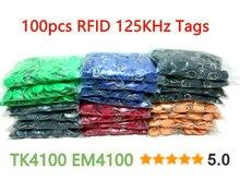 8 cores 100 pces rfid 125 khz tag tk4100 em4100 proximidade id token tags chave fobs anel rfid cartão para controle de acesso comparecimento do tempo