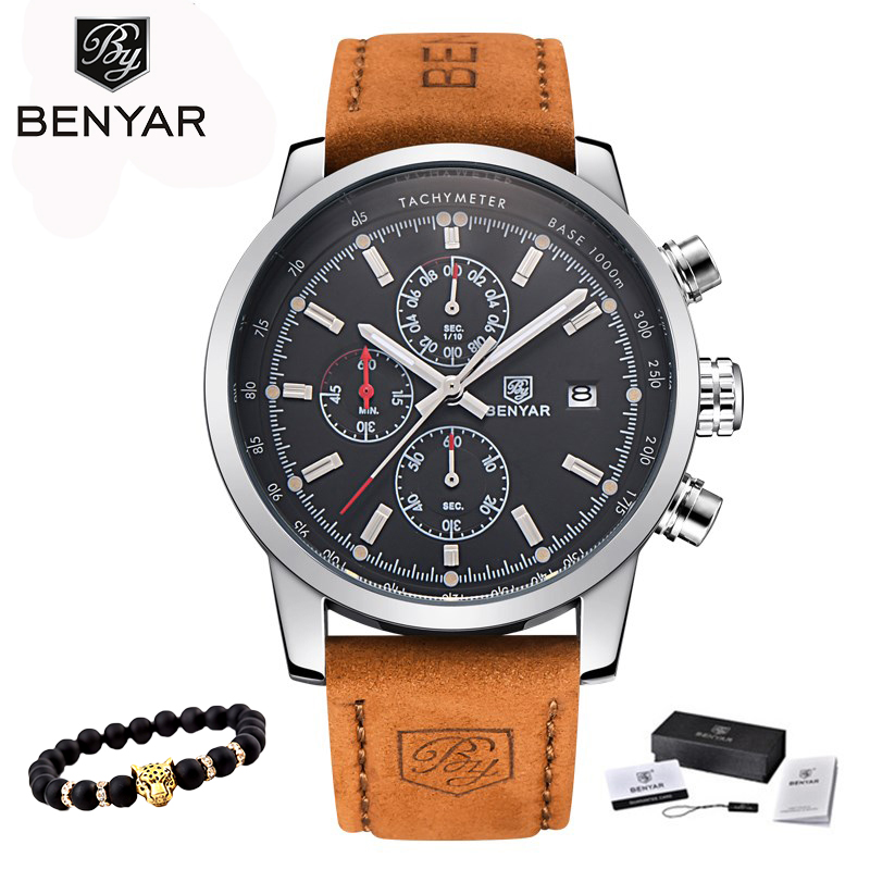 2018 BENYAR Klockor Män Luxury Brand Quartz Watch Fashion Chronograph Watch Reloj Hombre Sport Klocka Man Time Relogio Masculino