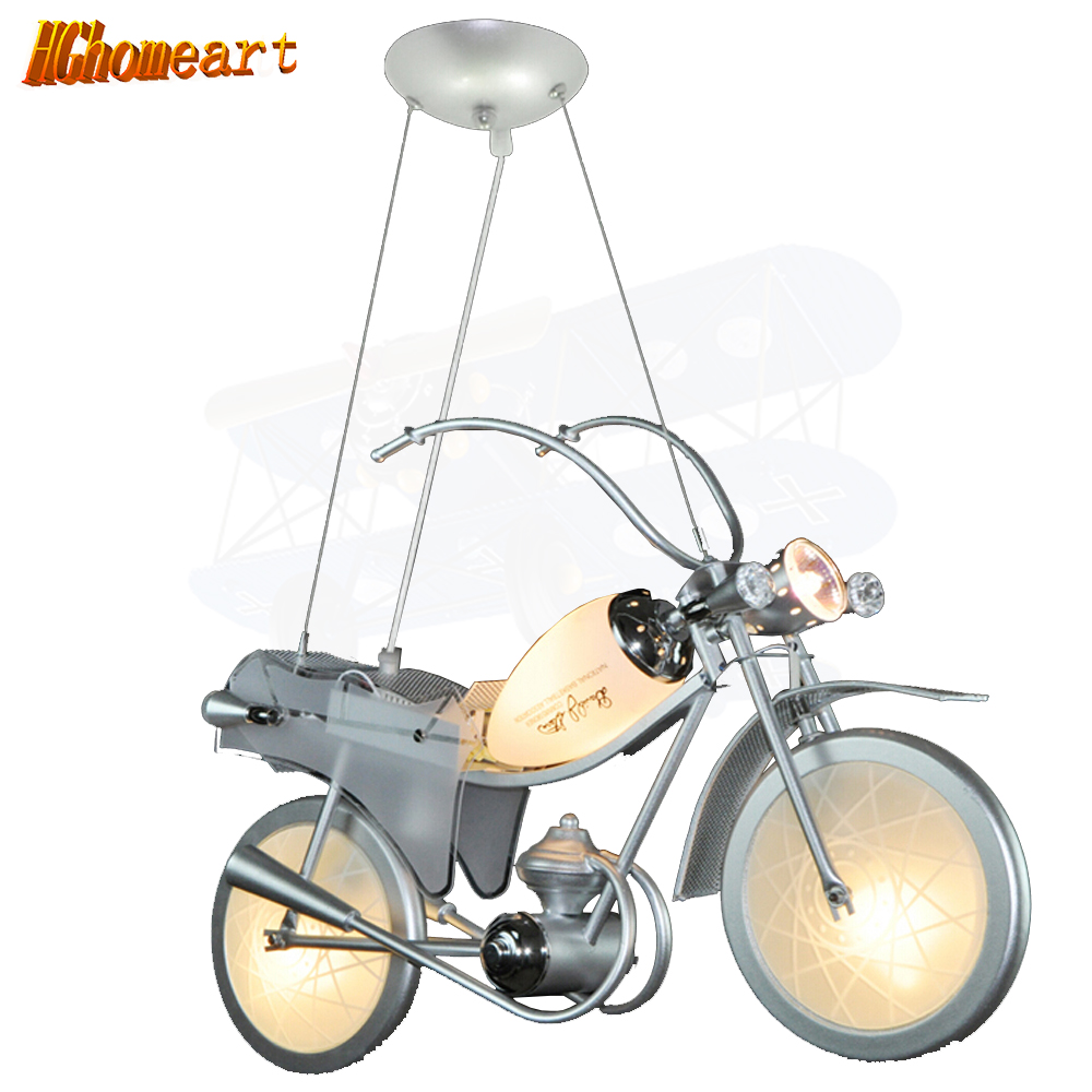 Hghomeart Motorcycle pendant lights Cartoon Lighting Boy Bedroom Lights Personalized Children 's Room Lamps Creative LED Lights hghomeart children room aircraft led pendant lights antique pendant light boy bedroom eye lamp study led creative ceiling lamps