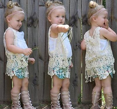 Toddler Kid Baby Girl Crochet Lace Hollow Tee Top Vest Tassel Waistcoat Children Blouse shirts for girls girls clothes