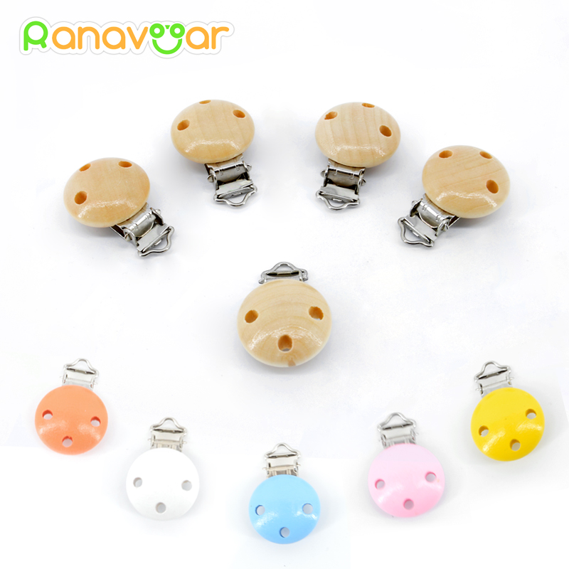5 PCS Wood Baby Pacifier Clips Natural Color Painting Colorful Wooden Round with Metal Holders Kids Feeding 4.5cm x 2.8cm