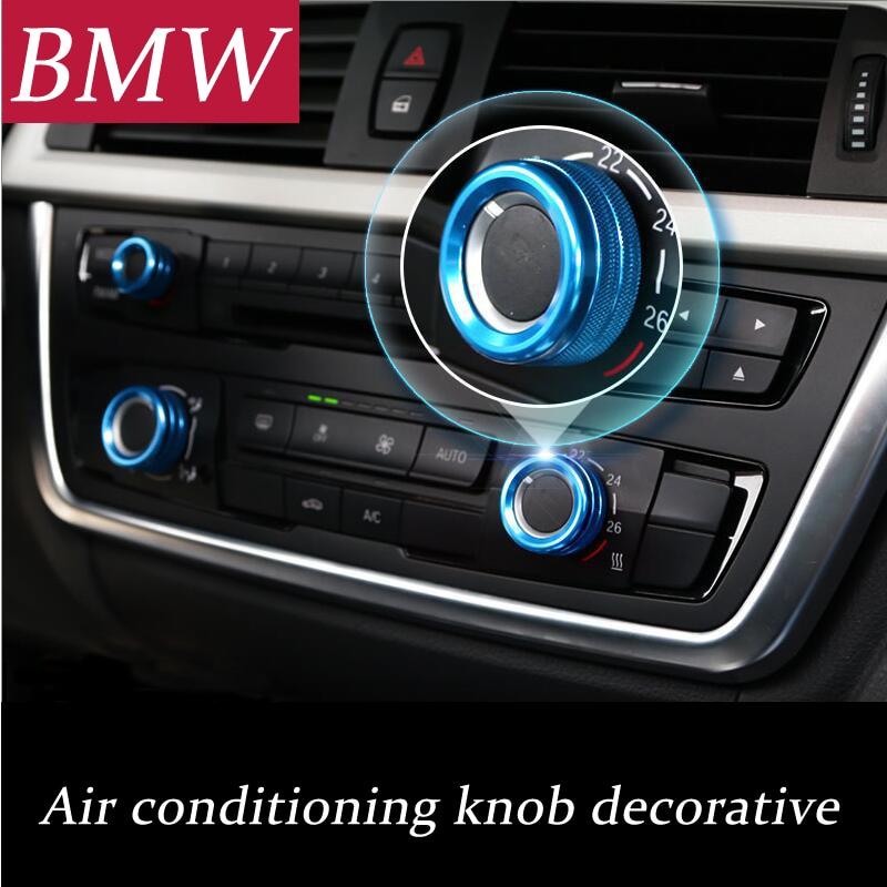 Car Air Conditioning Knobs Audio Decorative Circle Trim For BMW E70 E71 F15 F16 X1 X3 X5 X6 F30 E90 E92 F10 F18 F11 F07 GT F25