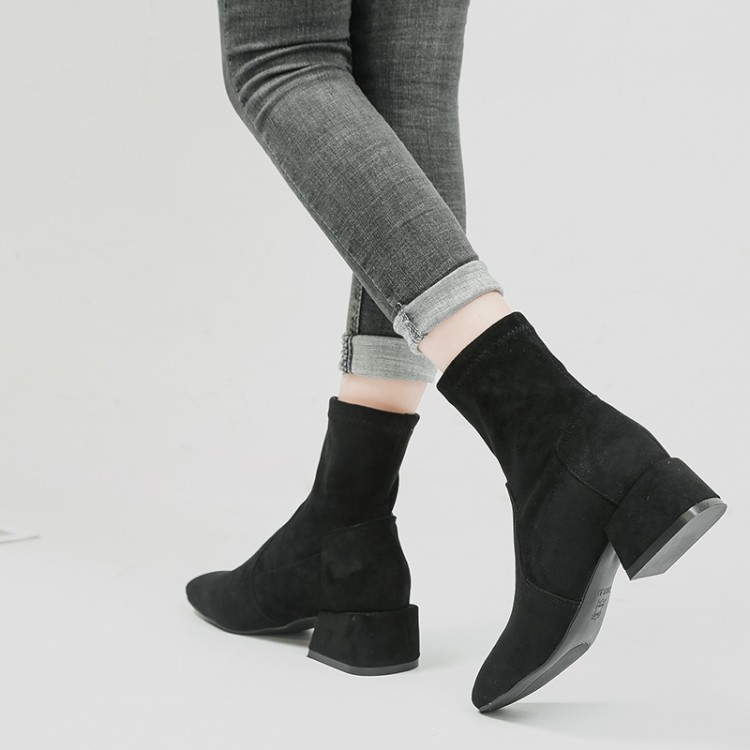Faux Suede Women Sock Boots Thick High Heels Ankle Boots for Women Fashion Slim Stretch Shoes Woman Sexy Pointed Toe Ankle enmayla autumn winter chelsea ankle boots for women faux suede square toe high heels shoes woman chunky heels boots khaki black