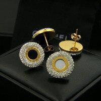 Romen rakamları siyah beyaz kabuk kristal kenar altın rengi/gümüş renk/gül altın renk titanium çelik saplama küpe