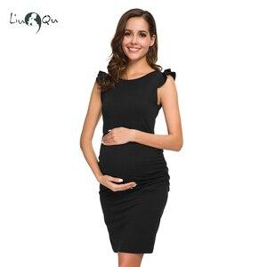 Image 4 - أسود الكشكشة الجانب Ruched ملابس للحمل أنيقة استحمام الطفل Bodycon فستان ماما الصيف التفاف فساتين الحمل الملابس Vestido