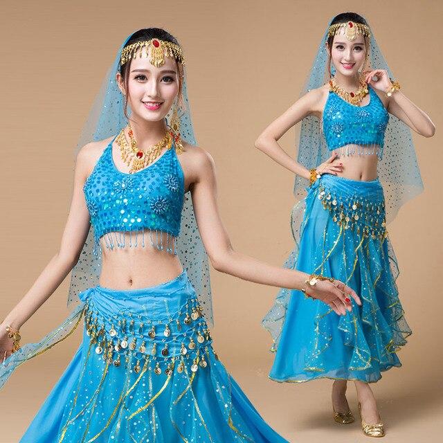 4 unids rendimiento conjunto traje de la danza del vientre de la mujer  Bollywood trajes de 4ef97793006
