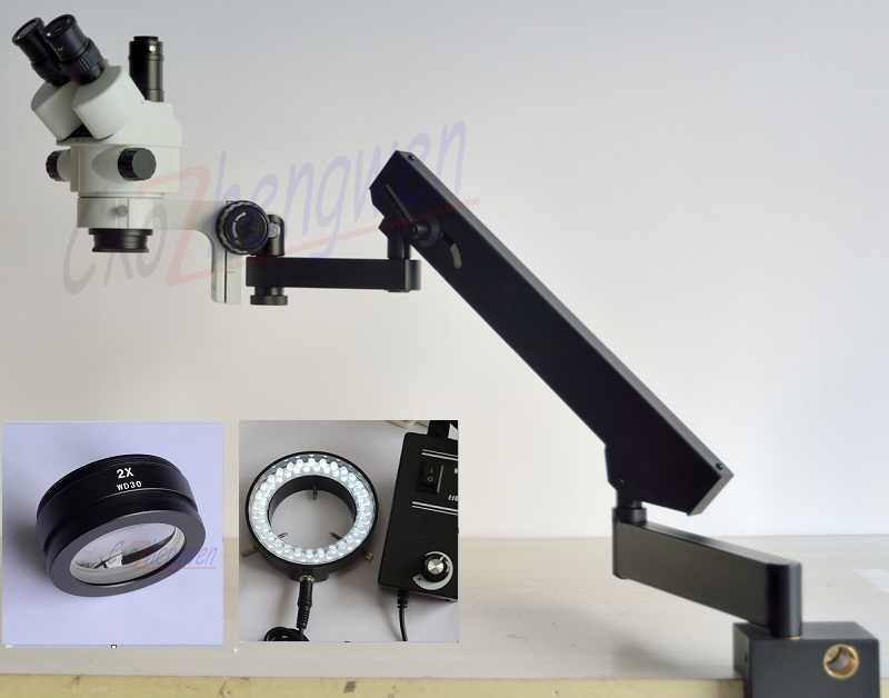 FYSCOPE 7X-90X MICROSCOPE stéréo ZOOM SIMUL FOCAL + MICROSCOPE sur socle articulé + 60 pièces LED