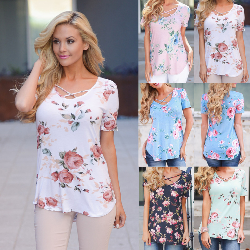 Spring Summer Large Size Women 39 s T shirt Short Sleeve V Neck Printed T Shirts Plus Size Top Elegant Bandage Cross Sexy Tops 5XL in T Shirts from Women 39 s Clothing