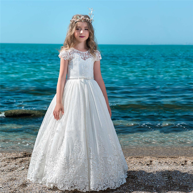 Well-designed First Communion Dresses For Elegant Girls Mesh Lace Appliques Sash Button Cap Sleeve Flower Girl Dress For Weeding