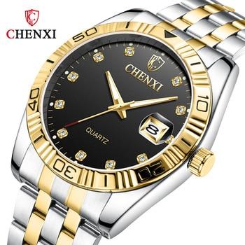 2019 New Top Brand Couple Watches Golden Full Stainless steel Luxury Quartz watch Men Clock Ladies Wristwatches Relogios casal