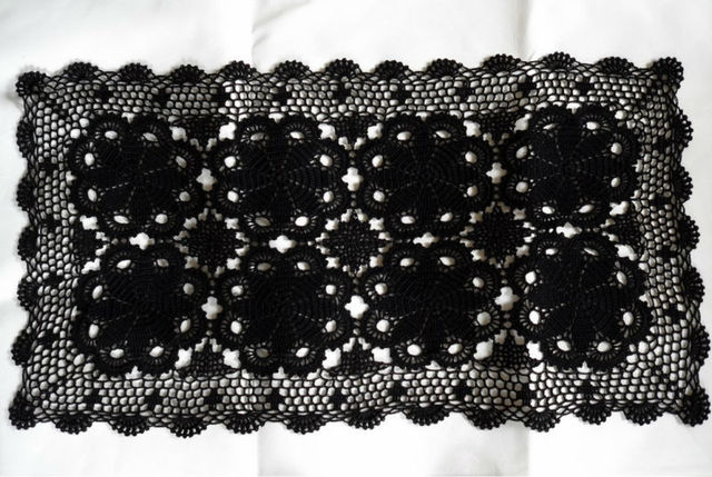 Black Crochet Table Runner Lace table clothplacemats 55x80cm in