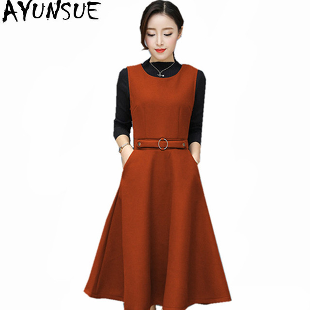 AYUNSUE 2018 Fashion Woolen Dress Women Knitted Sweater Vest Dresses  Vestido Casual Sweaters Autumn Winter Slim Two-Piece WXF668 bc55df8bbcfb