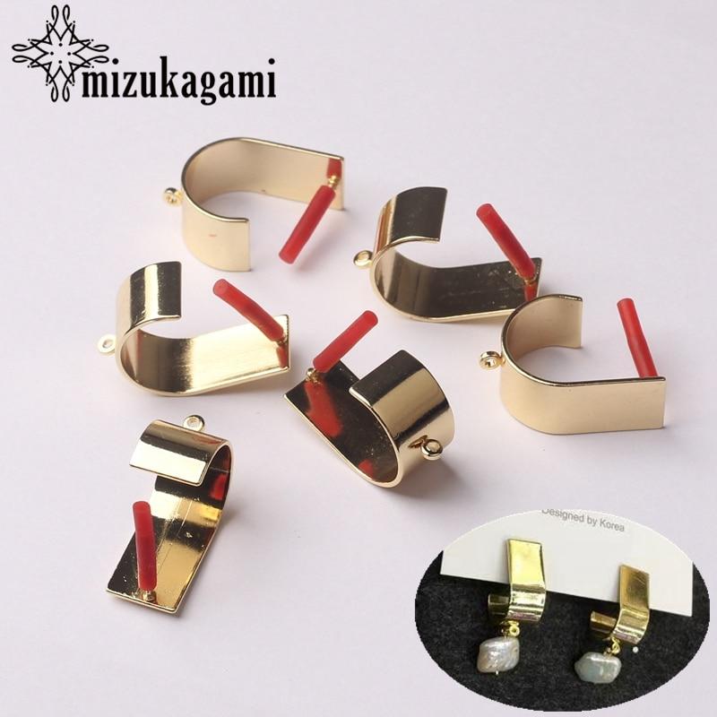 Zinc Alloy Golden Metal 3D Geometric Earrings Base Connectors Linkers 10*21mm 6pcs/lot For DIY Drop Earrings Making Accessories