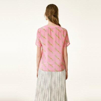 2019 nueva Camiseta corta, cuello redondo para mujer, Top suelto, mangas cortas de seda con letras impresas - 3