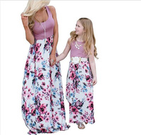 Family Matching Cloth Women Girl Mother and Daughter Floral Dresses Outfits Hot Family Matching Outfits 2pcs