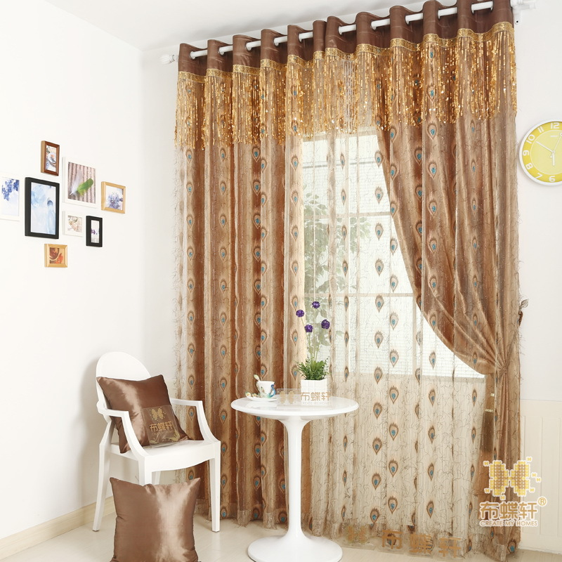 Upscale Blackout Curtain Luxury Peacock Feather Design