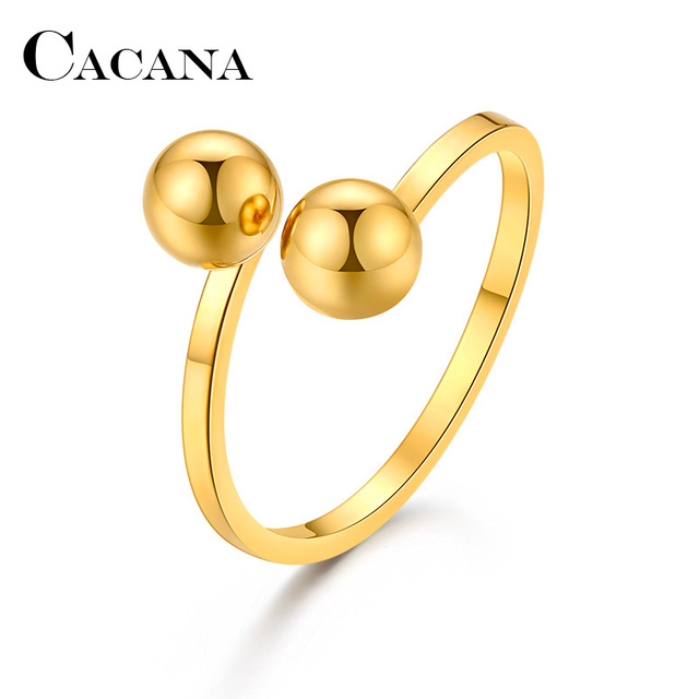 CACANA Stainless Steel Rings For Women Double Ball Engagement Fashion Jewelry Rings For Male Party Wedding