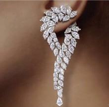 Waterdrop Earrings Brinco Zirconia Luxury Cubic Zirconia Cz Unique Curve Big Long Fashion Party Wedding Earrings For Women(China)