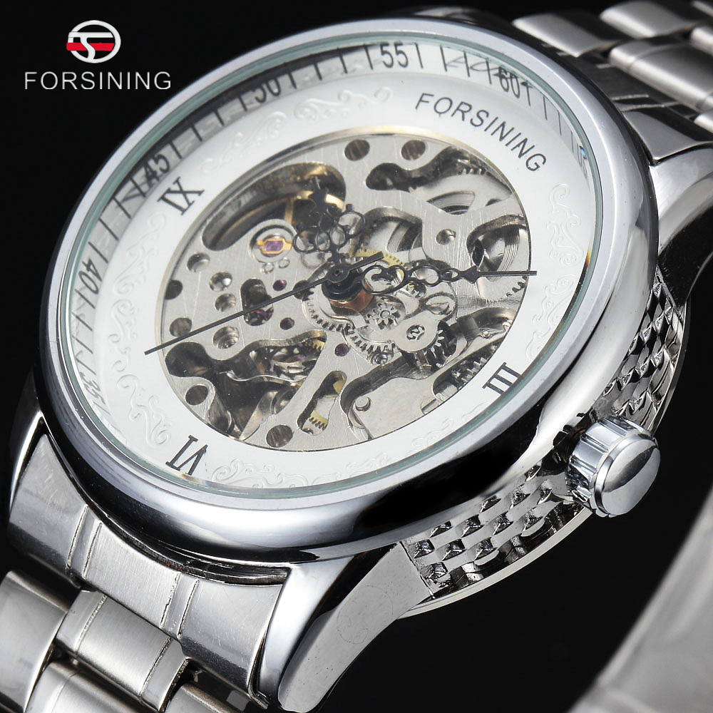 FORSINING Luxury Stainless Steel Clock Men Roman Gold Silver Skeleton Automatic Watch Hollow Mechanical Watches Holiday Gift forsining gold hollow automatic mechanical watches men luxury brand leather strap casual vintage skeleton watch clock relogio