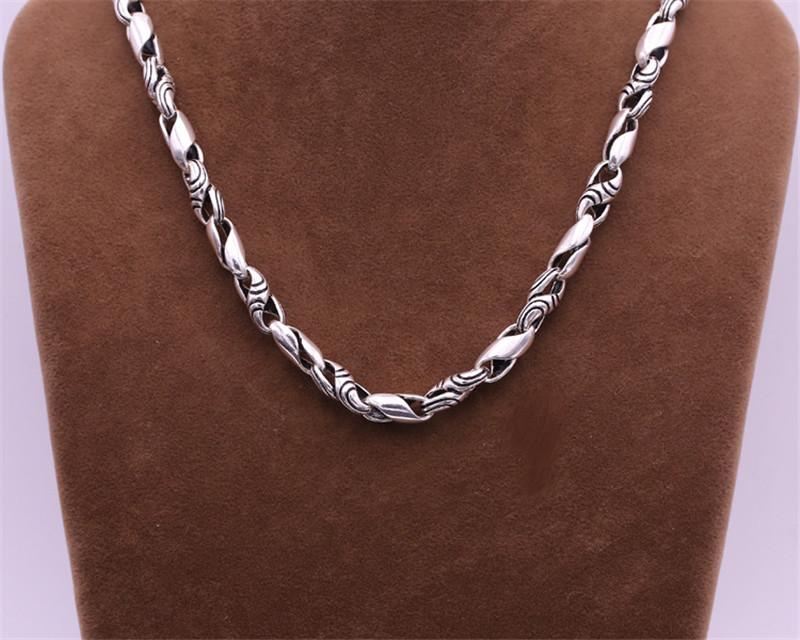 2018 New 925 Sterling Silver Necklace Men Jewelry 7mm Wide Weave Rope Chain Pendant Necklace men Gift Fine Jewelry 3mm thick weave rope chain cross link silver necklace sterling 925 silver jewelry