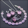 Enorme Rosa Criado Topázio Esterlina 925 Conjuntos de Jóias de Prata Para As Mulheres Brincos/Anéis/Pingente/Colar/Pulseiras Caixa de Presente livre