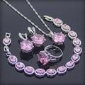 Gran Rosa Creado Topaz 925 Plata de La Joyería Para Las Mujeres Pendientes/Anillos/Pendiente/Collar/Pulseras Caja de Regalo libre