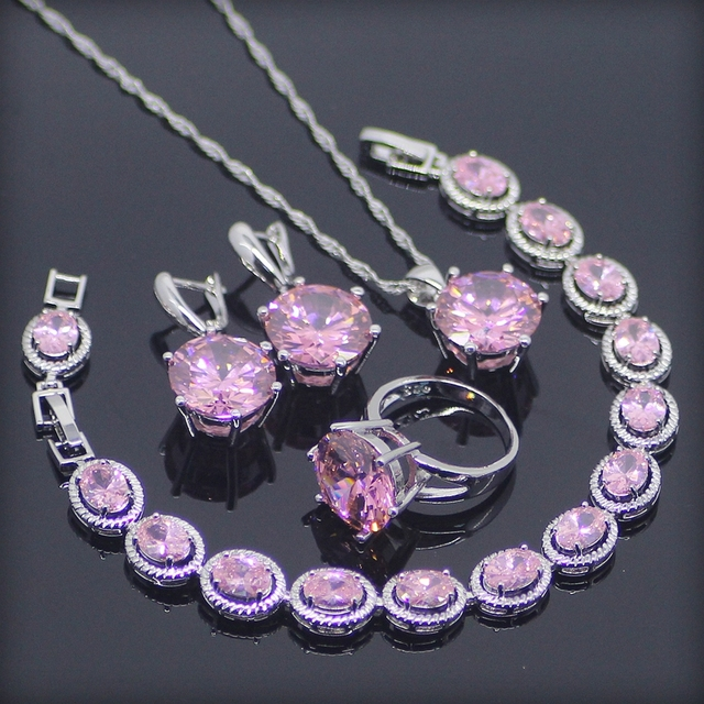 Huge Pink Created Topaz 925 Sterling Silver Jewelry Sets For Women Earrings/Rings/Pendant/Necklace/Bracelets Free Gift Box