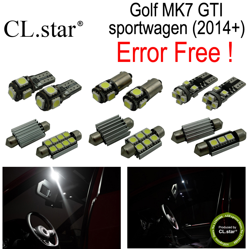 13pc X decoder canbus error free for Volkswagen VW Golf 7 MK7 MKVII GTI sportwagen LED lamp Interior Light  Kit Package (2014+) cawanerl car 2835 smd canbus interior dome map trunk license plate glove box light led kit white for vw volkswagen golf 6 gti