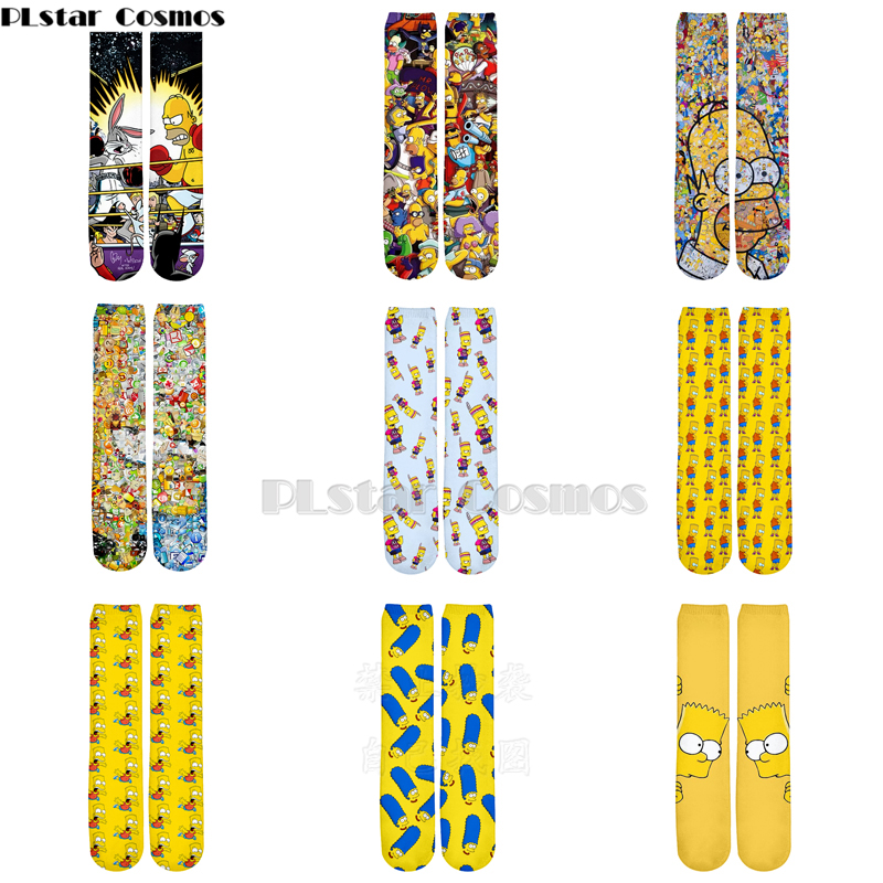 Plstar Cosmos Simpsons Socks Cartoon 3d Socks Funny 3D High Socks Men Women Quality Unisex Dropshopping Simpsons Family Socks