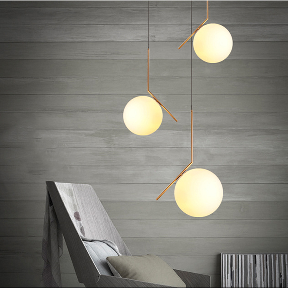 Modern Minimalist Art Deco Pendant Lights Ball Glass Shade Globe Led
