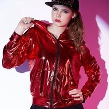 Демисезонный для женщин Красный курточка бомбер сценическая одежда блестка feminina casaco хип хоп танцы пальто