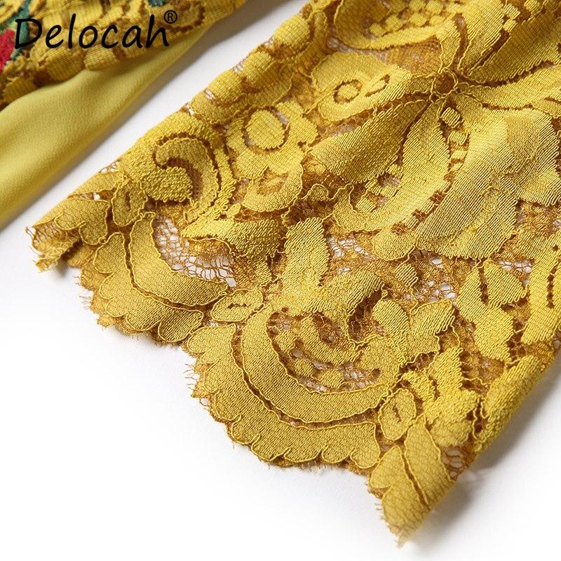 jaune Femme De Moitié Moderne Femmes Mode D'été Dentelle Mince Pour Manches Magnifique Delocah Robe Noir Piste Décontracté Créateur Printemps Broderie wTgSnYxqH