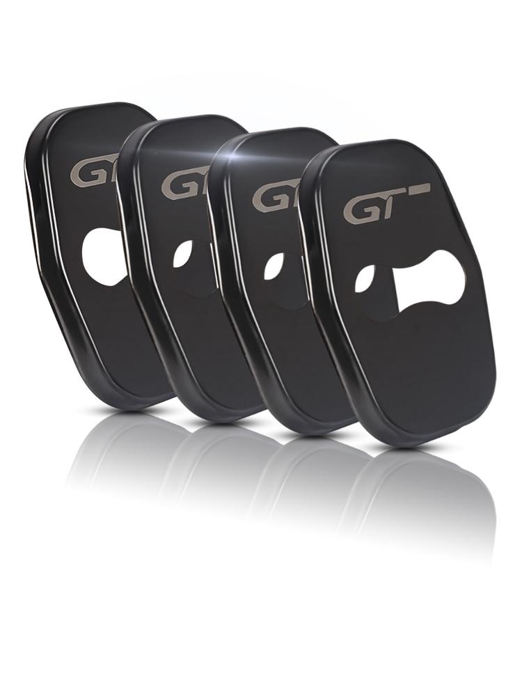 4pcs Black Metal Car Door Lock Cover For Peugeot 206 207 308 408 5085008 4008 3008 GT Car Styling Car Door Interior Accessories