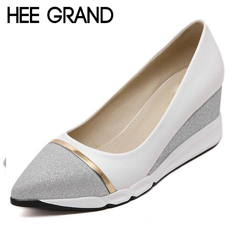 HEE GRAND Women's Wedges Pumps Women Slip-on Shoes Pointed Toe Woman Solid Shoes Slip-on Ladies Shoes 34-39 XWD6440 hee grand women s wedges heel highs for 2017 summer cut outs love heart bottom pumps wedding shoes woman size 35 39 xwd401