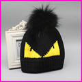FURANDOWN Winter Hats 2016 Fashion Brand Fur Pompoms Hat Cap For Women Devil Pattern Knitted Skullies Beanies