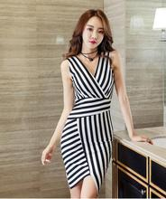 2018 Freeshiping New High quality Hot style  Sexy V-neck Slim Package buttocks Striped Temperament OL celebrities dress.