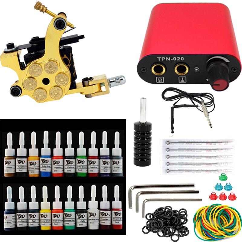 Completo professione Tattoo kit 1 guns serie di macchine di alimentazione usa e getta ago clip di cavoCompleto professione Tattoo kit 1 guns serie di macchine di alimentazione usa e getta ago clip di cavo