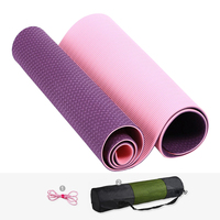 0.6 cm Professional Yoga Mats Double Color TPE Eco Non slip Fitness Mat with Strap Yoga Bag for Pilates and Floor Workout