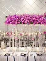 Free shipping wholesale elegant new design fashion Crystal tall flower stand/flower vase for wedding table centerpiece 10pcs/Lot