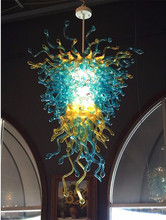 French Style Handmade Blown Glass Chandelier Blue and Amber Color Art Lighting for Home Hotel Lobby Decor