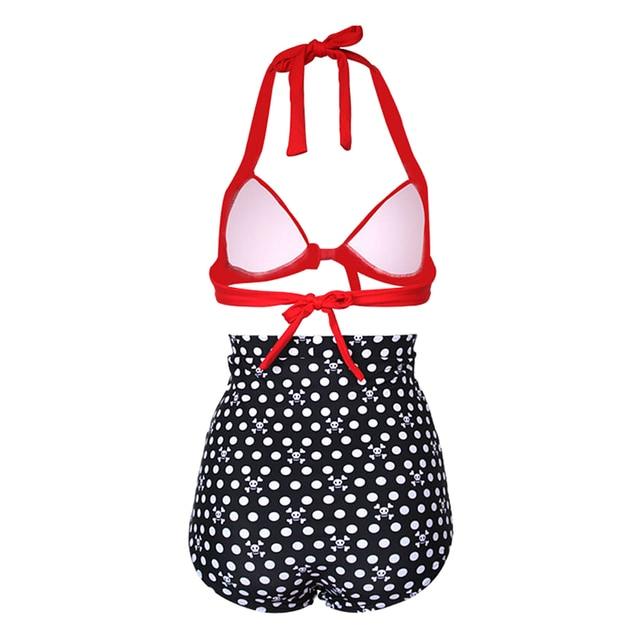 334af6772c Retro Push up High Waist Swimsuit Women Padded Beach Vintage Halter Bikini  Main Colour  Red Black Skull Size Type XXL UK 16-18