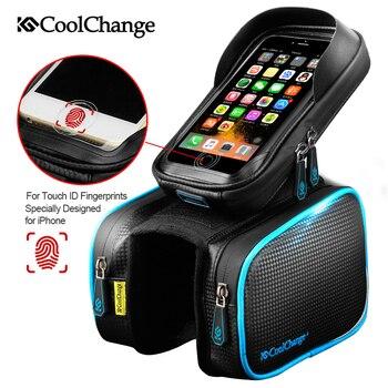 CoolChange 自転車フレームフロントヘッドトップチューブ防水バイクバッグ & ダブル IPouch サイクリングため 6.0 携帯電話バイクアクセサリー