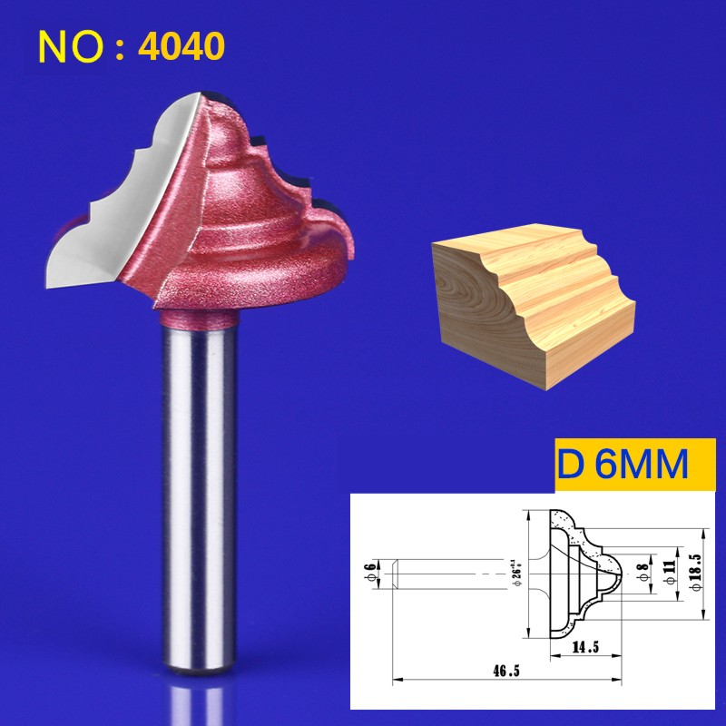 1pcs 6*26mm Chest/Door Engraving Machine Milling Knife,Wood Cutter Router ogee bits 3D Lace Woodworking milling cutter NO:4040 1piece wholesale engraving machine woodworking milling cutter line knife