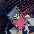 Женщины Сумка Дизайнер Сумок Высокого Качества Сумки Известных Брендов Панелями Милые Маленькие Сумки Женщины Мини Заклепки Старинные сумки На Ремне, Женская Сумка-Конверт