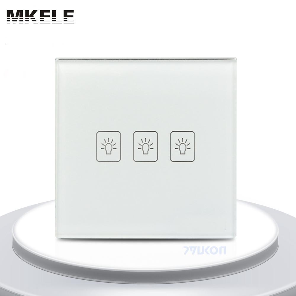 Remote Touch Wall Switch UK Standard 3 Gang1 Way RF Control Light White Crystal Glass Panel new arrivals remote touch wall switch uk standard 1 gang 1way rf control light crystal glass panel china