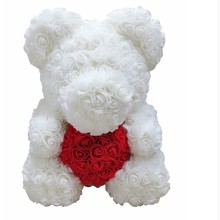 40cm Rose Bear Multicolor Plastic Foam Rose Teddy Bear Valentine Day Gift Birthday Party Decoration Toys for Girls