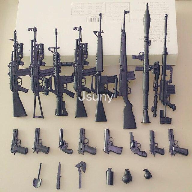 8 teile/satz + 54 Zubehör Die Montage Modell von 1:6 Pistolen M16A4 Serie Soldat der Waffe Anzug Modell Desert Eagle modell Gebäude