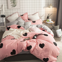 Papa & Mima Moderne stijl beddengoed set hart print 100% Katoen Queen size roze dekbedovertrek vlakke plaat kussenslopen