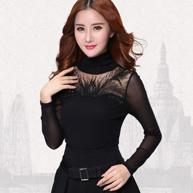 Mulheres plus size clothing primavera 2017 das mulheres camisa blusa manga longa ocasional diamantes mulheres tops plus size mulheres camisa de renda